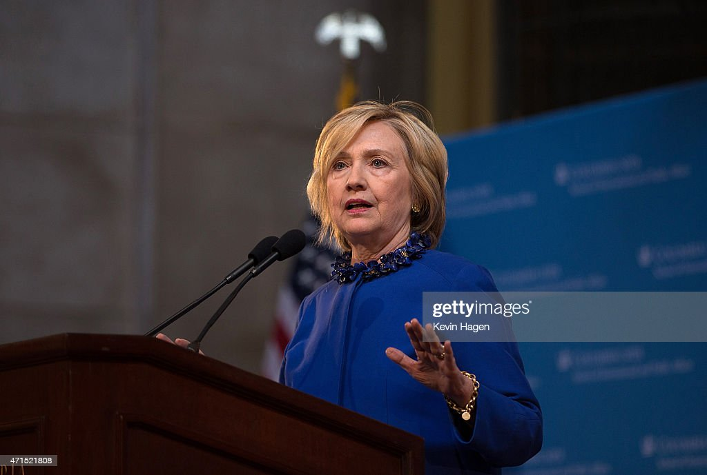 Democratic presidential hopeful and former Secretary of State Hillary Clinton speaks during the David N. Dinkins Leadership and Public Policy Forum at Columbia University April 29, 2015 in New York City, New York. Clinton addressed the unrest in Baltimore, calling for police body cameras and a reform to sentencing.