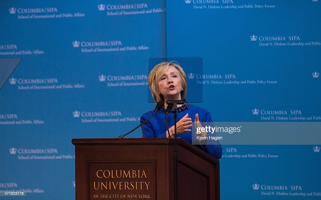 Democratic presidential hopeful and former Secretary of State Hillary Clinton speaks during the David N. Dinkins Leadership and Public Policy Forum at Columbia University April 29, 2015 in New York City. Clinton addressed the unrest in Baltimore calling for police body cameras and a reform to sentencing.