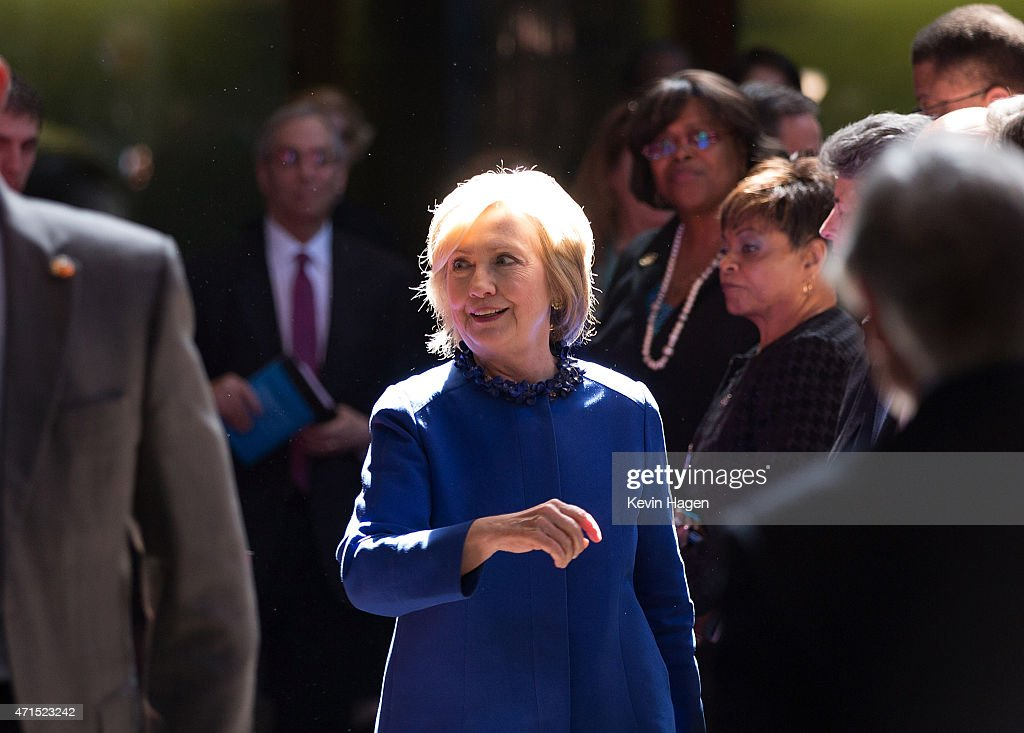 Democratic presidential hopeful and former Secretary of State Hillary Clinton leaves after speaking at the David N. Dinkins Leadership and Public Policy Forum at Columbia University April 29, 2015 in New York City, New York. Clinton addressed the unrest in Baltimore, calling for police body cameras and a reform to sentencing.
