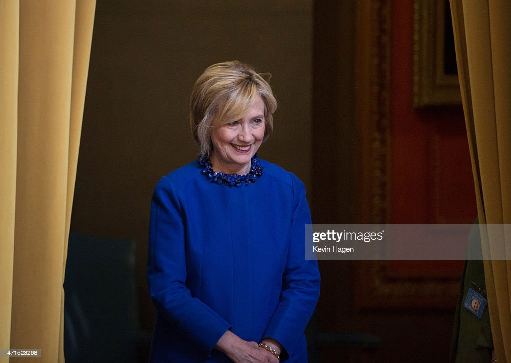 Democratic presidential hopeful and former Secretary of State Hillary Clinton waits to be introduced before speaking at the David N. Dinkins Leadership and Public Policy Forum at Columbia University April 29, 2015 in New York City. Clinton addressed the unrest in Baltimore calling for police body cameras and a reform to sentencing.