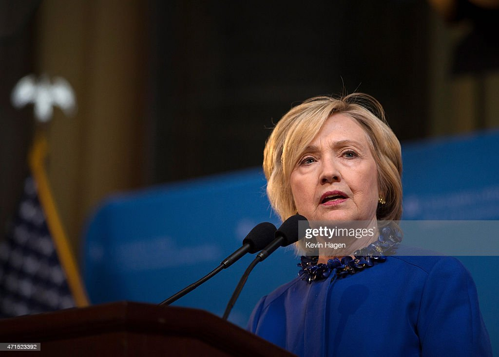 Democratic presidential hopeful and former Secretary of State Hillary Clinton speaks during the David N. Dinkins Leadership and Public Policy Forum at Columbia University April 29, 2015 in New York City. Clinton addressed the unrest in Baltimore and called for police body cameras and a reform to sentencing.