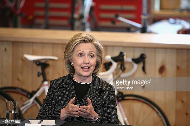 Democratic presidential hopeful and former Secretary of State Hillary Clinton hosts a small business forum with members of the business and lending...