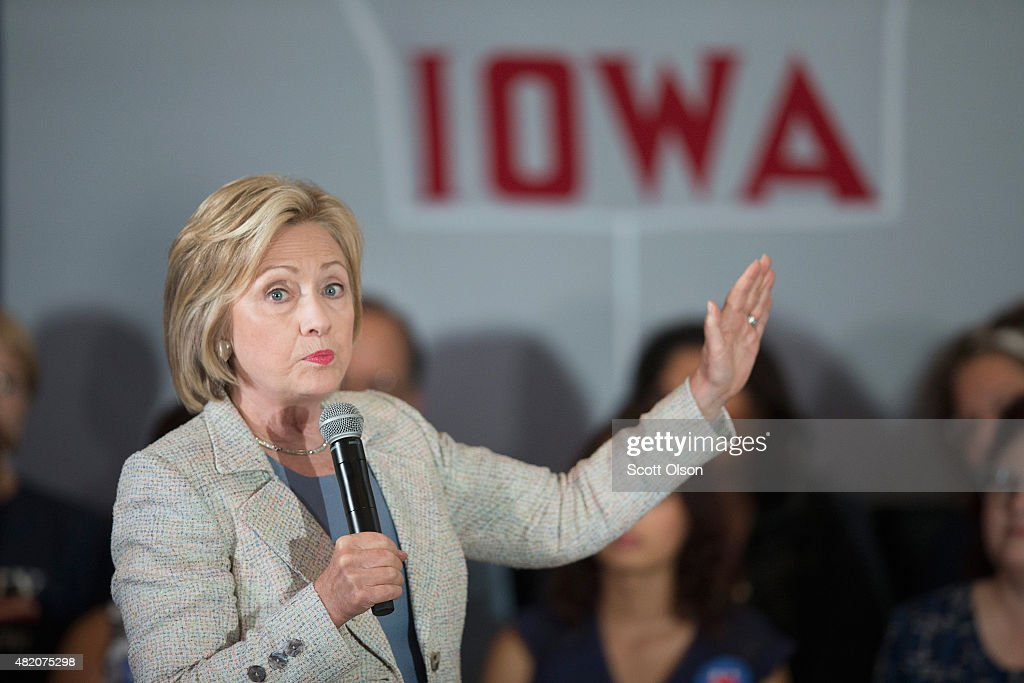 Hillary Clinton Brings Her Presidential Campaign Back To Iowa : News Photo