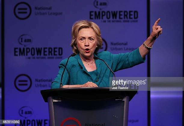 Democratic Presidential hopeful and former Secretary of State Hillary Clinton speaks during the Presidential Candidates Plenary at the National Urban...