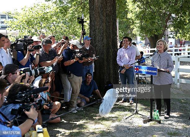 Democratic presidential hopeful and former Secretary of State Hillary Clinton speaks during a news conference before touring the Iowa State Fair on...