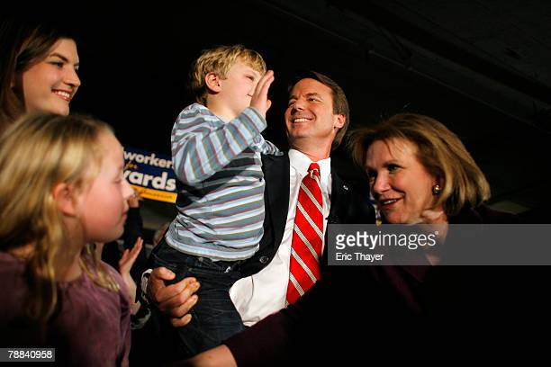 Democratic Presidential hopeful and former Sen John Edwards his daughters Cate Emma Claire son Jack and wife Elizabeth appear on stage at a rally at...