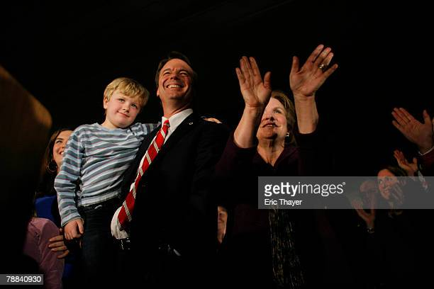 Democratic Presidential hopeful and former Sen John Edwards his son Jack and wife Elizabeth greet the crowd at a rally at the Tower Mills January 8...