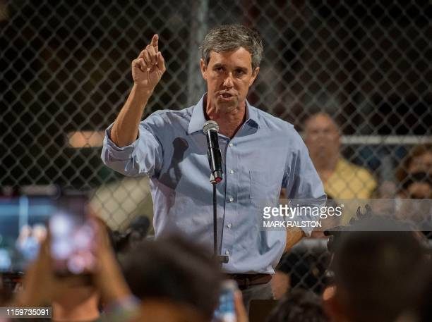 Democratic presidential hopeful and former US Representative for Texas' 16th congressional district Beto O'Rourke speaks to the crowd during a prayer...