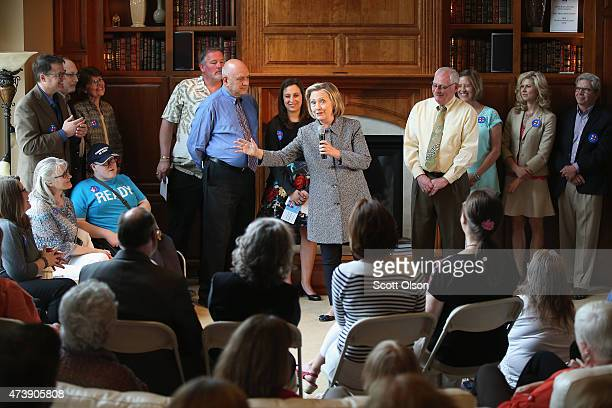 Democratic presidential hopeful and former US Secretary of State Hillary Clinton speaks during a grassrootsorganizing event at the home of Dean Genth...