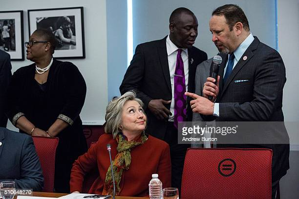 Democratic presidential hopeful and former US Secretary of State Hillary Clinton meets with civil rights leaders at The National Urban League on...