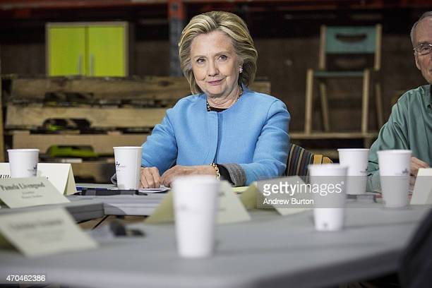 Democratic presidential hopeful and former U.S. Sectetary of State Hillary Clinton speaks to employees of Whitney Brothers, an educational furniture...