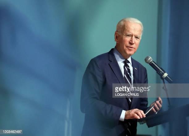Democratic presidential hopeful and former Vice President Joe Biden addresses the crowd during the Rev Al Sharpton Minister's Breakfast at Mt Moriah...