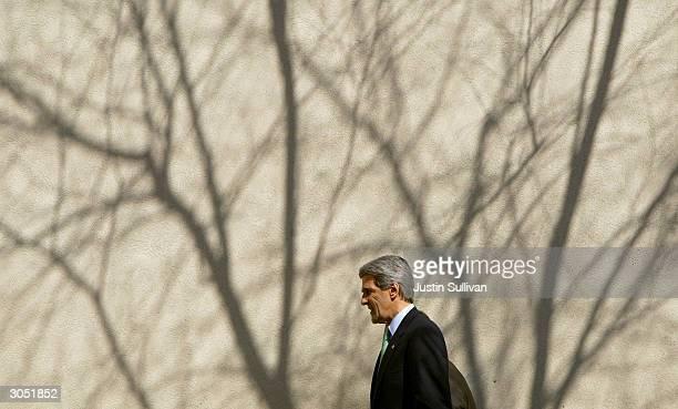 Democratic presidential hopeful and US Senator John Kerry arrives for church services at the Greater Bethlehem Temple Apostolic Faith Church March 7...