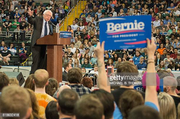 Democratic presidential hopeful Bernie Sanders addresses a 'Future to Believe In' rally at the Family Areana on March 14 2016 in St Charles Missouri...