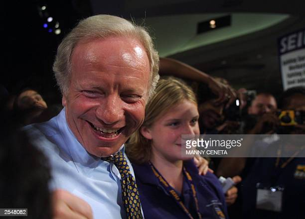 Democratic presidential hopeful Connecticut Senator Joe Lieberman is surrounded by union members after delivering his remarks at the political action...