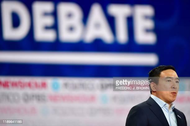 Democratic presidential hopeful entrepreneur Andrew Yang participates in the sixth Democratic primary debate of the 2020 presidential campaign season...