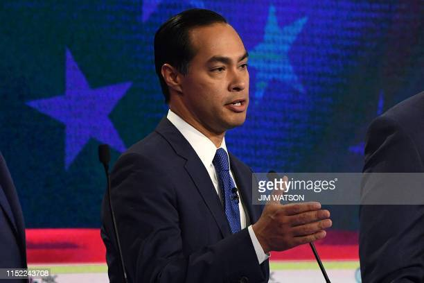Democratic presidential hopeful former Housing and Urban Development Secretary Julian Castro speaks during the first night of the Democratic...