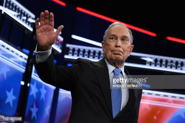 Democratic presidential hopeful Former New York Mayor Mike Bloomberg arrives for the ninth Democratic primary debate of the 2020 presidential...