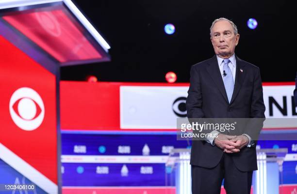 Democratic presidential hopeful Former New York Mayor Mike Bloomberg arrives for the tenth Democratic primary debate of the 2020 presidential...