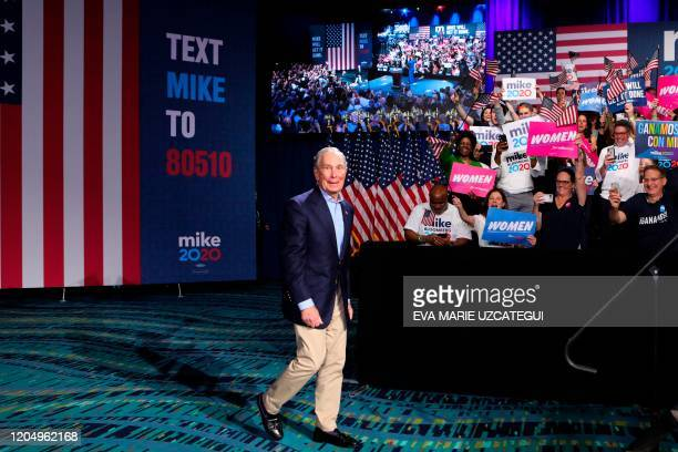 Democratic presidential hopeful former New York mayor Mike Bloomberg arrives for a rally at Palm Beach County Convention Center in West Palm Beach...