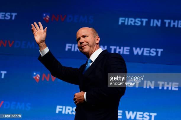 Democratic presidential hopeful former Representative John Delaney speaks on stage at First in the West event in Las Vegas Nevada on November 17 2019