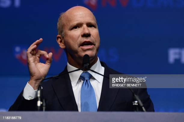"Democratic presidential hopeful former Representative John Delaney speaks on stage at ""First in the West"" event in Las Vegas, Nevada on November 17,..."