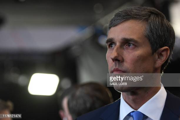 Democratic presidential hopeful former Texas representative Beto O'Rourke looks on in the spin room after the fourth Democratic primary debate of the...