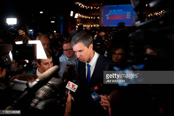 Democratic presidential hopeful former US Representative for Texas' 16th congressional district Beto O'Rourke speaks with the press in the Spin Room...