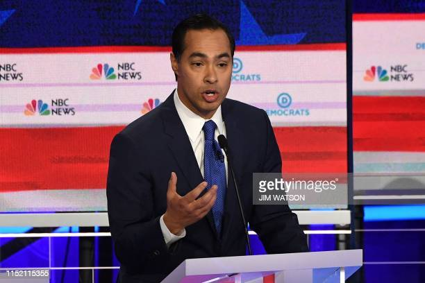 Democratic presidential hopeful former US Secretary of Housing and Urban Development Julian Castro speaks during the first Democratic primary debate...