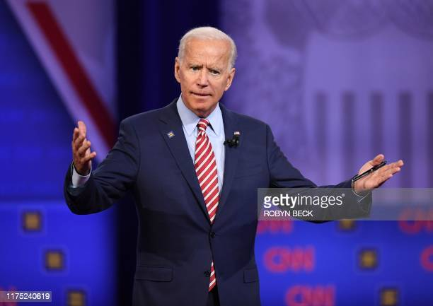 Democratic presidential hopeful former US Vice President Joe Biden gestures as he speaks during a town hall devoted to LGBTQ issues hosted by CNN and...