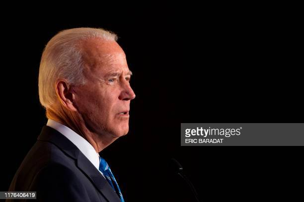 Democratic presidential hopeful former US Vice President Joe Biden speaks during the Women's Leadership Forum Conference on October 17, 2019 in...