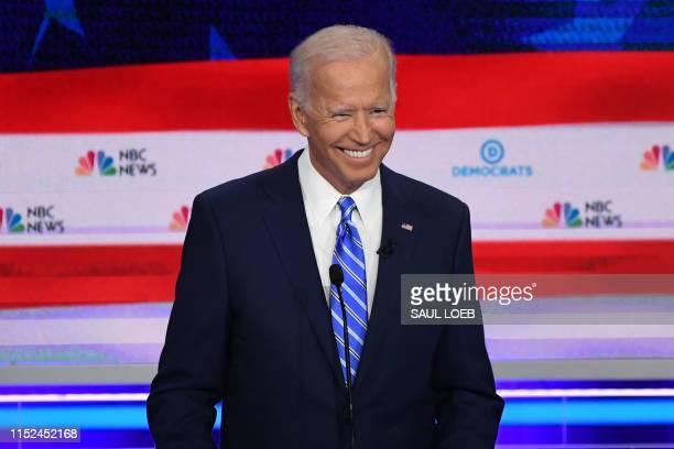 Democratic presidential hopeful former US Vice President Joseph R Biden Jr smiles during the second Democratic primary debate of the 2020...