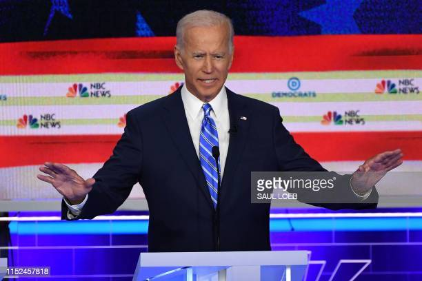 Democratic presidential hopeful former US Vice President Joseph R Biden Jr speaks during the second Democratic primary debate of the 2020...