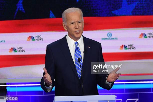 Democratic presidential hopeful former US Vice President Joseph R. Biden speaks during the second Democratic primary debate of the 2020 presidential...