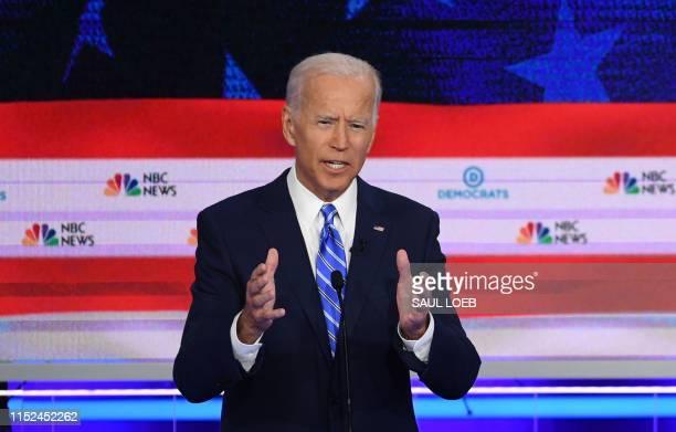 Democratic presidential hopeful Former US Vice President Joseph R Biden speaks in the second Democratic primary debate of the 2020 presidential...