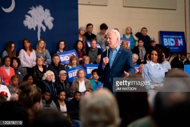 Democratic presidential hopeful former Vice President Joe Biden speaks during a rally in Conway South Carolina on February 27 2020