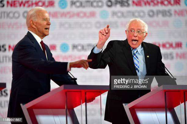 Democratic presidential hopeful former Vice President Joe Biden and Vermont Senator Bernie Sanders participate of the sixth Democratic primary debate...