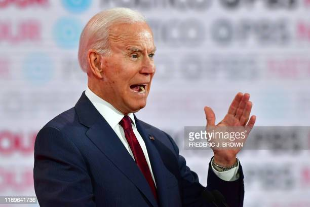 Democratic presidential hopeful former Vice President Joe Biden takes part in the sixth Democratic primary debate of the 2020 presidential campaign...