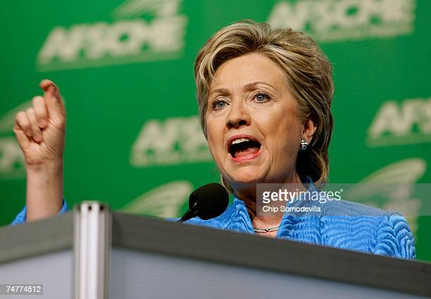 Democratic presidential hopeful Hillary Clinton addresses the American Federation of State County and Municipal Employees during its National...
