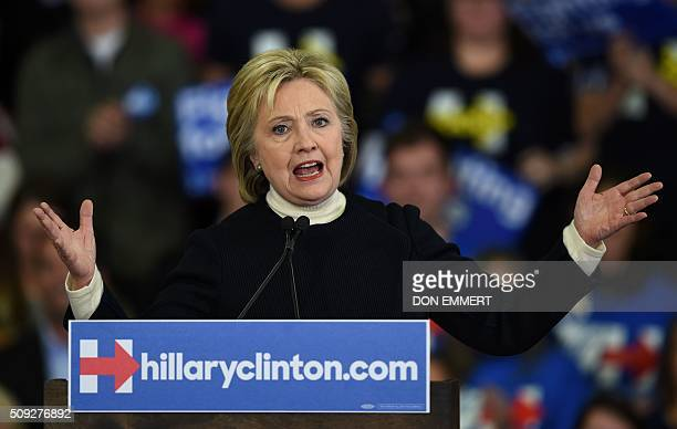 TOPSHOT Democratic presidential hopeful Hillary Clinton speaks at her primary night party February 9 2016 at Southern New Hampshire University in...