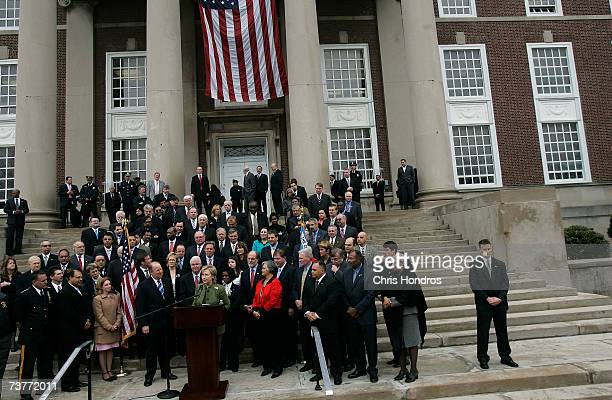 Democratic presidential hopeful Hillary Rodham Clinton speaks at an event to announce New Jersey Gov Jon Corzine's endorsement of her candidacy...