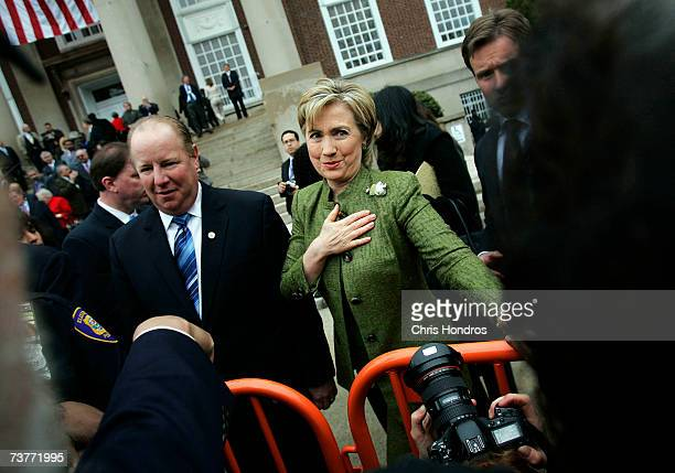 Democratic presidential hopeful Hillary Rodham Clinton talks with supporters after New Jersey Gov Jon Corzine endorsed her candidacy outside...