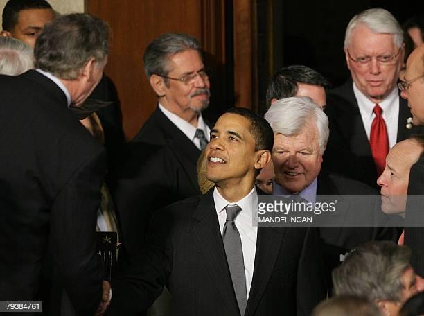 US Democratic presidential hopeful Illinois Senator Barack Obama arrives with Massachusetts Senator Ted Kennedy 28 January 2008 for the State of the...