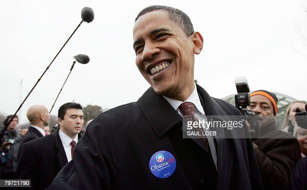 Democratic presidential hopeful Illinois Senator Barack Obama campaigns on Capitol Hill in Washington, DC, on February 12, 2008. Virginia, Maryland...