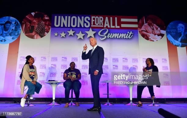Democratic Presidential hopeful Joe Biden speaks during the SEIU Unions for All Summit in Los Angeles, California on October 4, 2019.