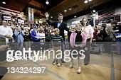 Democratic Presidential hopeful John Edwards and his family including his wife Elizabeth son Jack and daughter Emma Claire are introduced to the...