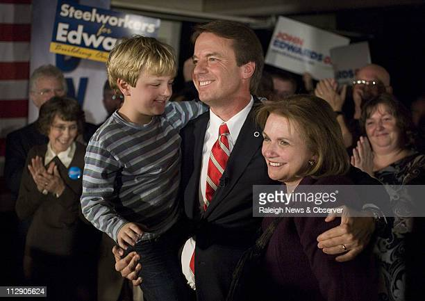 Democratic presidential hopeful John Edwards his son Jack and wife Elizabeth thank their supporters following his third place finish in the New...