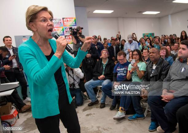 Democratic presidential hopeful Massachusetts Senator Elizabeth Warren speaks to supporters during a visit to her field office in Las Vegas Nevada on...