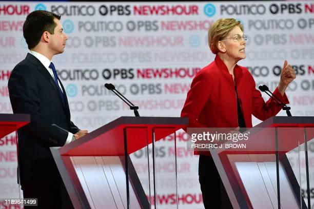 Democratic presidential hopeful Mayor of South Bend Indiana Pete Buttigieg and Massachusetts Senator Elizabeth Warren participate of the sixth...