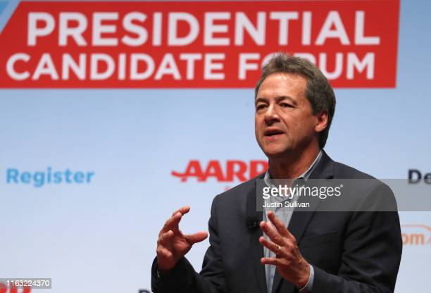 Democratic presidential hopeful Montana Gov. Steve Bullock speaks during the AARP and The Des Moines Register Iowa Presidential Candidate Forum on...